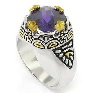 Designer Inspired 2 tone Vintage Ring w/Amethyst CZ, 7