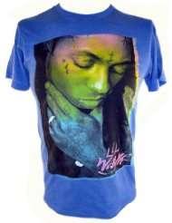 Lil Wayne Mens T Shirt   Florescent Colors Weezy Image on Blue