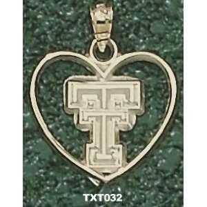 Texas Tech Univ New Bevel Tt Heart Charm/Pendant Sports