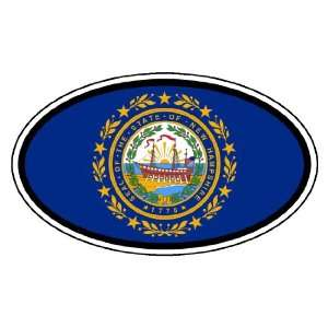 New Hampshire State Flag Car Bumper Sticker Decal Oval