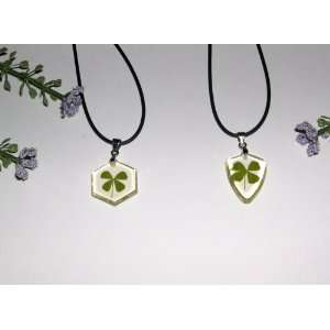 Two Lucky Clover Necklaces with Real Four leaf Clover