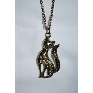 Cat Necklace, 20 Adjusterable Chain, 2 H, Gold Tone, Kitty Cat Charm