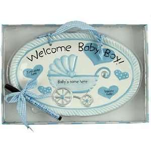 Baby Boy Birth Announcement Plaque Christmas Ornament