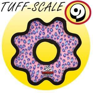 Tuffys Ultimate Gear Ring Plush Dog Toy Pink Leopard
