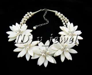 Shell pearl crystal flower necklace/earring set VJ