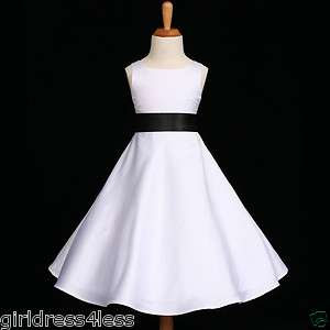 WHITE/BLACK A LINE WEDDING BRIDESMAID FLOWER GIRL DRESS 18M 2 4 6 8 10