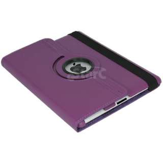 Purple iPad 2 Magnetic Smart Cover Leather Case Rotating 360 Stand