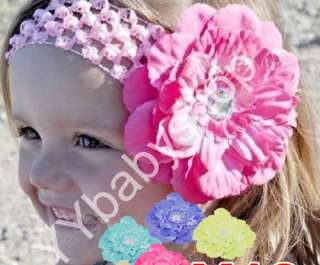Girls Baby Lady Crochet Headbands with peony Flower clips hair bow