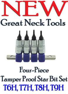 Great Neck Tamper Proof Star Bit Set T6H T7H T8H T9H |