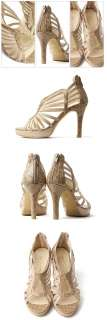 Nwe Womens Shoes 3.5 Heel Beige Strap Sandals /93343★★