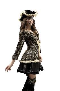 New Delux Ladies Black/Gold Pirate Fancy Costume Dress size M L