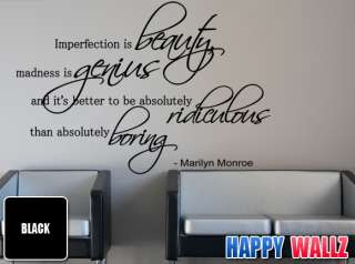 MARILYN MONROE IMPERFECTION IS BEAUTY WALL VINYL DECAL STICKER QUOTE