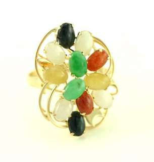 Vintage 14K Yellow Gold Multi Colored Jade Flower Cluster Cocktail