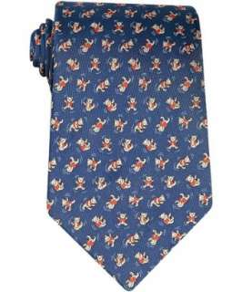 Ferragamo blue teddy bear print silk tie