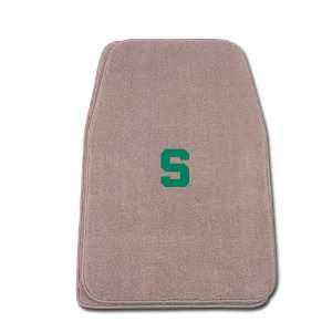 Beige Universal Fit Front Two Piece Floormat with NCAA Michigan State