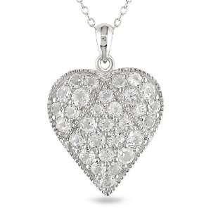 Silver 2 3/4 CT TGW Round White Topaz Heart Pendant With Chain
