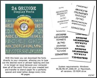 Grunge Tattoo Alphabets Font Book w/ CD ROM NEW