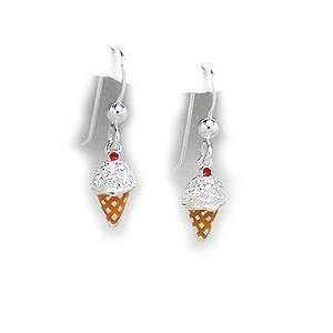 Ice Cream Cone Earrings in Sterling Silver, Enamel and