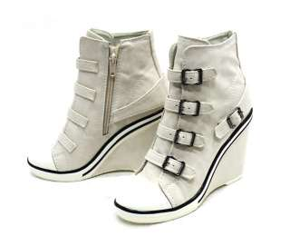 Women Wedge High Heels Sneakers Tennis Shoes Ankle Boots Ivory US 5.5