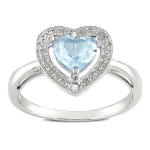 Sterling Silver Blue Topaz Heart with Diamond Accent Ring