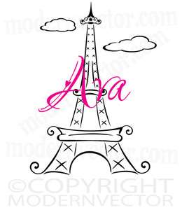 Eiffel Tower Paris Personalized Name Vinyl Wall Decal