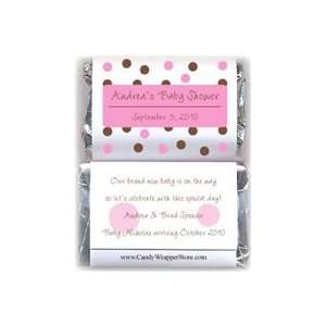 MINIBS229P   Miniature Pink Dots Baby Shower Candy Bar Wrappers Baby