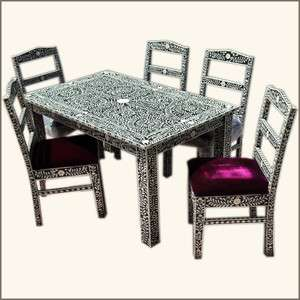ANTIQUE Style Inlay Luxury SOLID Teak WOOD Dining Table Upholstered