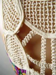 FLORAL Print Bohemian Crochet Back Long Maxi Dress S