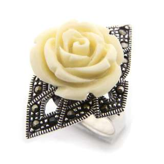 Marcasite Gemstone Genuine 925 Sterling Silver White Rose Ring Size 8