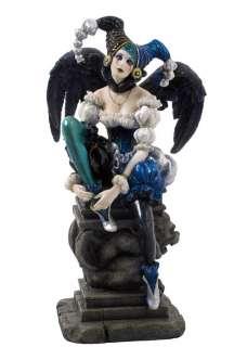 WEEPING JESTER 10 Gothic Dark Angel Girl Statue Fantasy Art Clown