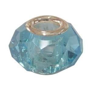 Faceted Glass European Large Hole Beads Fit Pandora Aqua