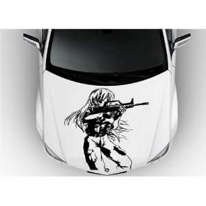 Anime Car Vinyl Graphics Girl with Guns S6888 Home