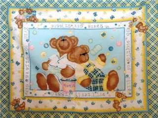 New Teddy Bear Bubbles Butterfly Nursery Fabric Panel