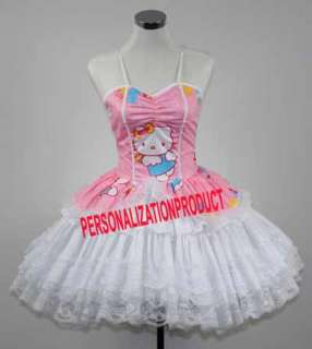 Sweet Gothic Lolita pink Cosplay Hello Kitty Pattern 3 Ballroom Corset