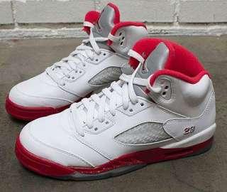 Authentic 2011 Retro Nike Air Jordan 5s    White / Scarlet Fire