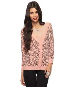 Forever 21 Hello Kitty Collection Sweater Pink & Black Bow Print Sz. M