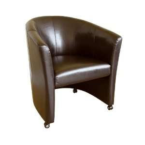 Modern Furniture  Full Leather Club Chair with Wheels