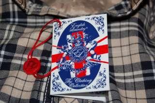 English Laundry PEOPLES ARMY LONG SLEEVE TAN NAVY BLUE PLAID SHIRT