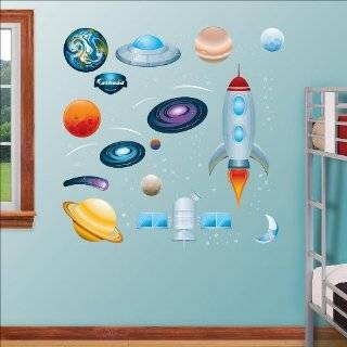 com ROCKET SHIP Wall Room Decal Sticker Boy Stars Space  Color Navy