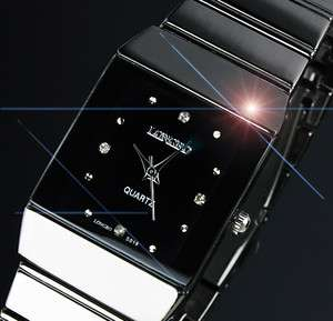 FASHION DESIGNS MENS ANALOG BLACK STAINLESS STEEL SQUARE WRIST WATCH