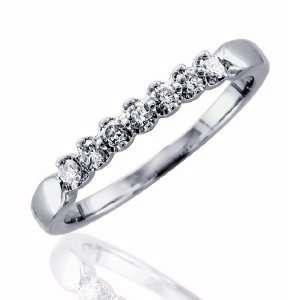 14k White Gold Diamond Wedding/Anniversary Ring Band (I1 I2, GH, 0.25