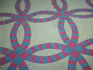VINTAGE PINK & BLUE DOUBLE WEDDING RING QUILT TOP #C337