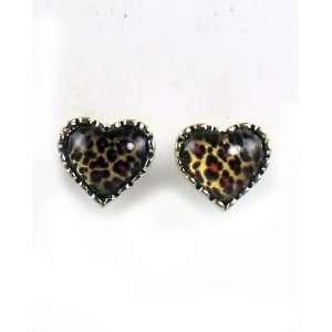 Betsey Johnson Jewelry Lovely Leopard Heart Stud Earring