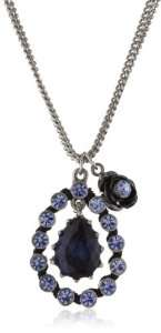 Betsey Johnson Iconic Blue Crystal Pendant Necklace Jewelry