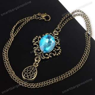 Retro Oval Blue Resin Dangle Flower Drop Pendant Necklace Bronze