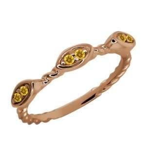 Round Yellow Citrine 18k Rose Gold Ring Jewelry