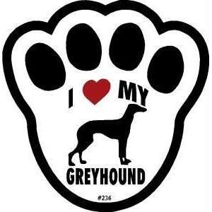 I Love My Greyhound Dog Pawprint Window Decal Pet