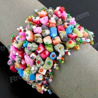 MIX DYED MOTHER OF PEARL SHELL GEMS HANDMADE FASHION bracelet