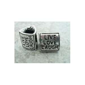 Antique Silver Plated Live Love Laugh Triangle Bead Charm