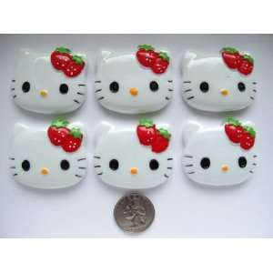 6 Xl Resin Cabochon Flat Back Kitty Cat Red Strawberry